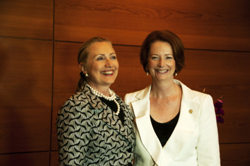 U.S. Secretary of State Hillary Rodham Clinton poses for a photo with Australian Prime Minister Julia Gillard in Rio de Janeiro, Brazil during Rio+20 Conference on June 22, 2012. [Photo courtesy of Walter Mesquita]