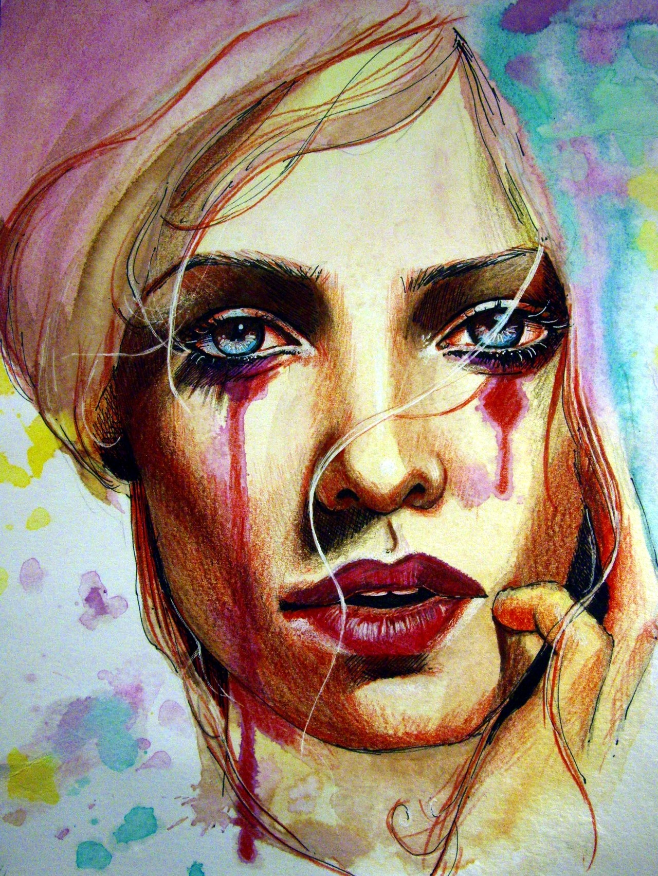 """Scarlet"" Watercolor, acrylic, ink, charcoal and color pencil on Canson paper. 9x12 inches. SEE ME MAKE IT HERE: http://www.youtube.com/watch?v=mgORYT_6Exs http://www.olganoes.com/ http://www.facebook.com/olganoes http://www.olganoes.tumblr.com/ http://www.twitter.com/olganoes8"