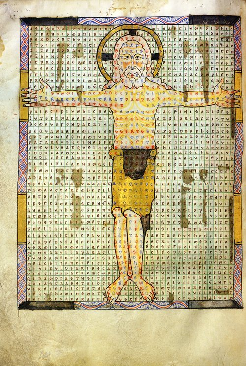 Oliverus, De laudibus sanctae Crucis (Praises to the Holy Cross, Ms. 340, fol. 11v), Anchin Abbey, 1175, tempera, gold and silver leaf on parchment. Bibliothèque Municipale, Douai