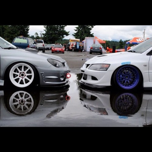 lowlife4life:  The stare down #evo #subaru #stance #hellaflush #fitment #jdm (Taken with Instagram)