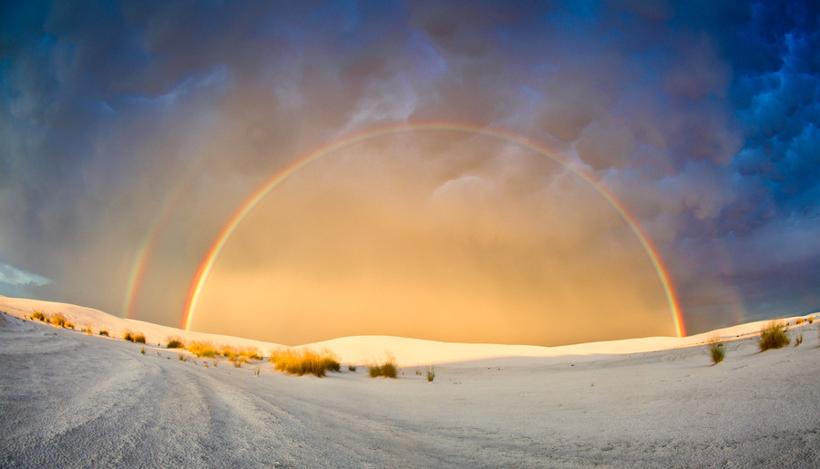"""Double Rainbow at White Sands National Monument. "" by Rikk Flohr"