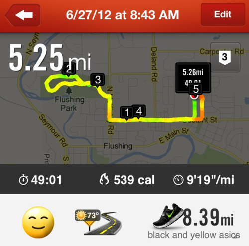 Only my 2nd run with the new shoes. I would bet money it was more than 73 degrees though. But glad that's out of the way for the day!