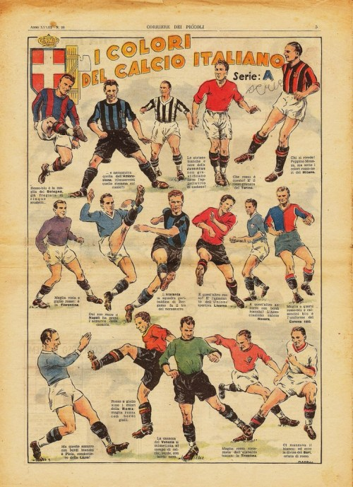 footysphere:  A great Calcio poster from way back when. Im guessing it must be around 1955-56 as Novara are in the picture. I also love the Lazio player (fascist salute?) and the Roma player who looks like he is about to wipe him out. (via thegentlemanultra) more vintage calcio