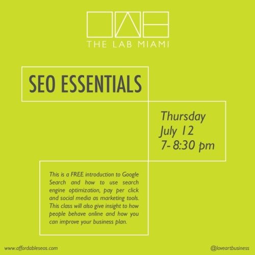 New class at The LAB! Learn SEO Essentials taught by Justin Levy, CEO of Affordable SEOs.  Register here.