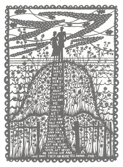 One of Rob Ryan's lasercut artworks in a beautiful soft grey - so intricate but so simple. I really want this one - so romantic and heartfelt. You can browse his shop on Etsy here:  http://www.etsy.com/shop/misterrob?ref=top_trail