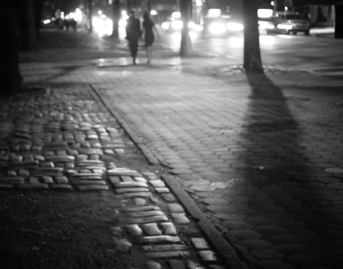 "Night. Central Park, New York City.  Over glistening cobblestones in the haze of summer heat, the twinkling lights of oncoming cars cast their glow like fireflies in a dense urban forest.  As somnambulists glide over uneven paths, the wind plays a nocturne.  This is when the city dreams.  —-  View this photo larger and on black on my Google Plus page  —-  Buy ""Nocturne - Night - New York City"" Prints here, email me, or ask for help."
