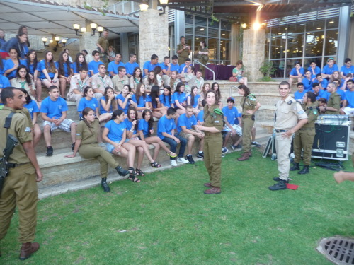 Week One: Opening Ceremony  Last week, CVK'ers arrived in Israel. Upon landing, they were greeted and welcomed enthusiastically by their Israeli madrichim and peers. During the Opening Ceremony, they were introduced to Israel and heard speeches from their peers, getting excited for the upcoming few weeks. Here is one picture from the festivities.