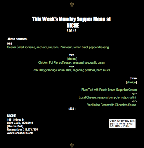 Monday Supper Menu 07.02.12