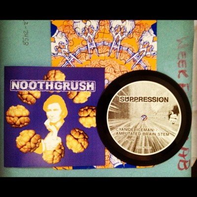 "Noothgrush / Suppression split 5"" record #noothgrush #suppression #split #5"" #record #vinyl #sludge #metal #doom #grindcore #powerviolence #noise #art #punk #hardcore (Taken with Instagram)"