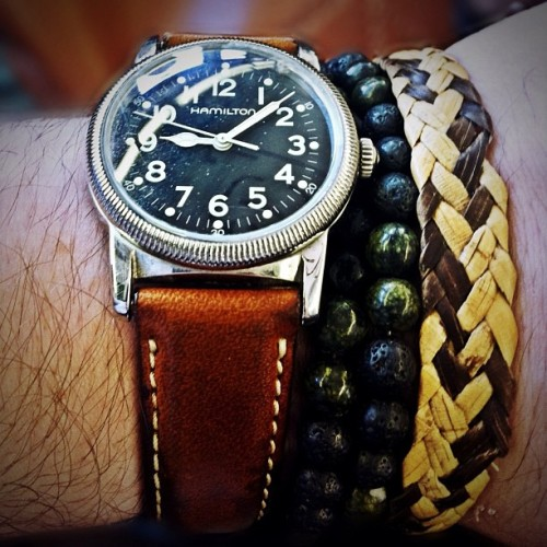 Today's wrist. Vintage Hamilton and beads and bamboo from Bali. (Taken with Instagram)