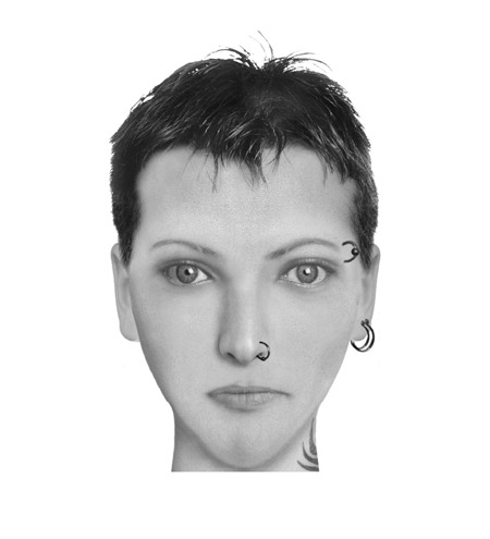 thecomposites:  Lisbeth Salander, The Girl with the Dragon Tattoo, Stieg Larsson A pale, skinny young woman who had hair as short as a fuse, and a pierced nose and eyebrows. She had a wasp tattoo about an inch long on her neck…On those occasions when she had been wearing a tank top, a dragon tattoo can be seen on her left shoulder blade.  Her natural hair colour was red, but she had dyed it ivory black…Crooked smile. (Suggested by Anna Bressanin)  The Swedish version of the film nailed it.