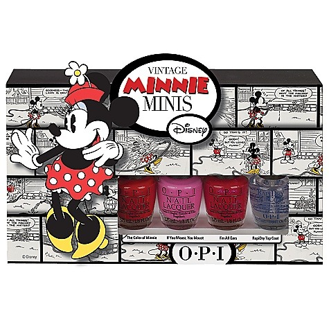 heckyeahdisneymerch:  Minnie Mouse nail polish by O.P.I.! Also, my best friend did a test run of the The Color of Minnieon her blog!  I would paint my nails with this. Too bad nail polish is expensive. ):