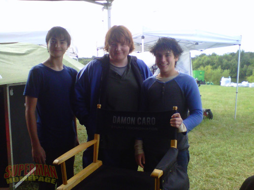 Robert Gerdisch (Whitney Fordham), Jack Foley (Pete Ross), and Dylan Sprayberry (Clark Kent) posing in front of Stunt Coordinator Damon Caro's chair - MAN OF STEEL