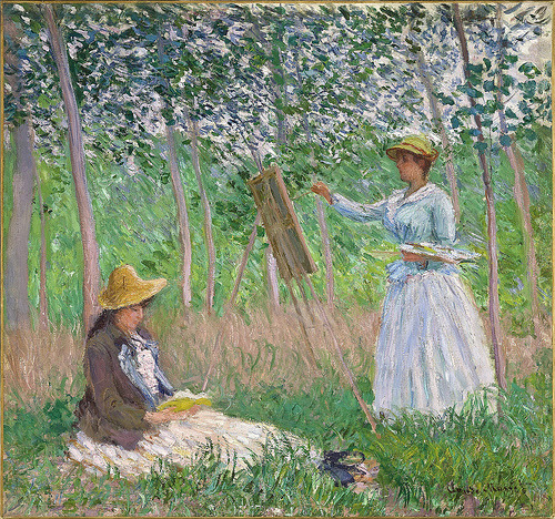 In the Woods at Giverny (1887) Claude Monet Blanche Hoschedé at her easel with Suzanne Hoschedé Reading