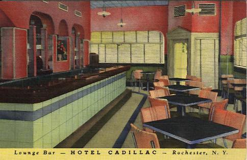 Lounge Bar, Hotel Cadillac, Rochester, NY  As modern as tomorrow, the Lounge Bar at Hotel Cadillac is one of the most beautiful rooms to be found anywhere. A visit to Rochester is not complete without seeing this famous spot.
