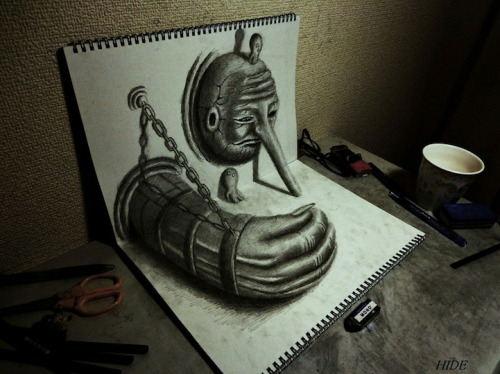Unique perspective. 3D sketchbook drawings pop-up and challenge your depth perception. Anamorphic illustrations by Japanese artist Nagai Hideyuki. Click the pic for more.