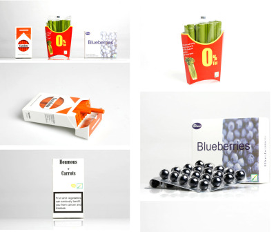 "Stereotype Packaging - Daizi Zheng  ""According to the World Health Organization (WHO), unhealthy diet is amongst one of the leading causes of the major non-communicable diseases. Can design encourage people to rethink their relationship with healthy food to gain a balanced diet? The series of food packaging were created from the observations on personal behaviors. Using the recognizable stereotyping packaging would make people feel more physically and physiologically connected with those daily objects. By giving the good food a little make over, it could contribute the availability of healthy food and encourages people to make a change for their everyday life.""  I love the idea of rebranding food, something that is usually so traditional in nature. It's really amazing to see the difference a fresh approach makes. If I was in a grocery store and I saw this, it would definitely make me stop and think twice. S"