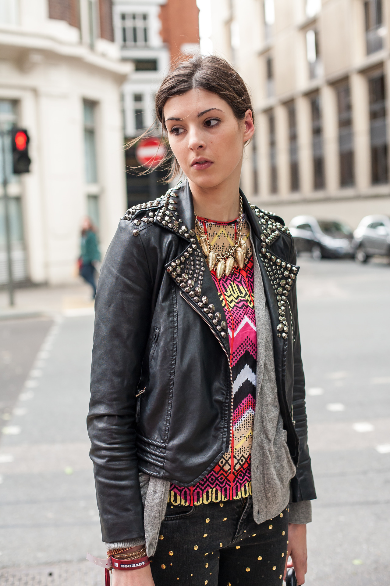 topshop:  Studs, studs, studs we'll never get enough of them! They look especially cool on these skinny trousers.