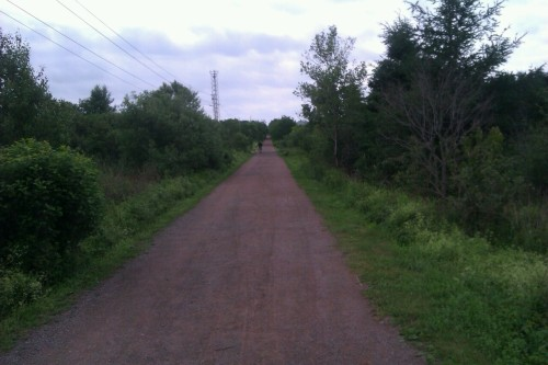 The Confederation Trail stretches across the Island (it's the old railway). This is a view of the new part of the trail I'm 'ralking' (walk/run) in Charlottetown.