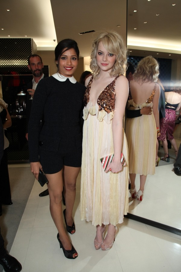 Freida Pinto and Emma Stone