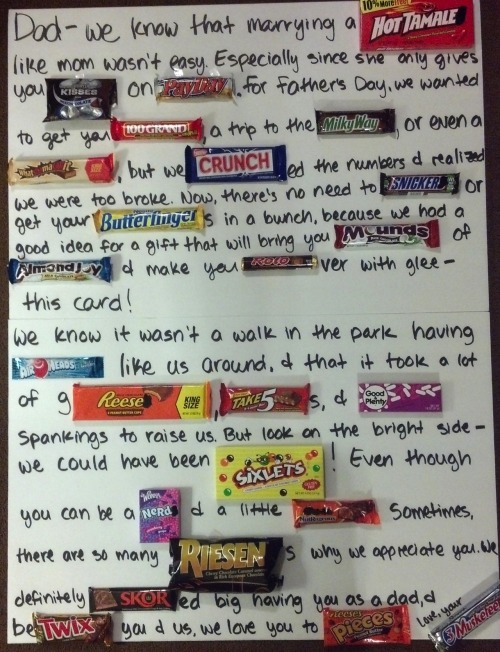 Check out the candy letter I made for my dad on Father's Day. The great thing is, you can do this for any occasion. Bridal shower, wedding gift, the list goes on! I'm sure the candy lovers in your life will really appreciate it :)