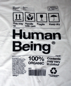 Human Being packaging t-shirt Available at http://www.origin68.com/products