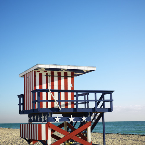 Patriotic lifeguard stand in Miami Beach, FL.