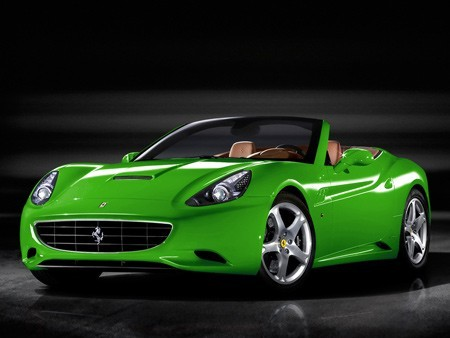 Ferrari California in brilliant green. You don't see a green Ferrari every day now do you?