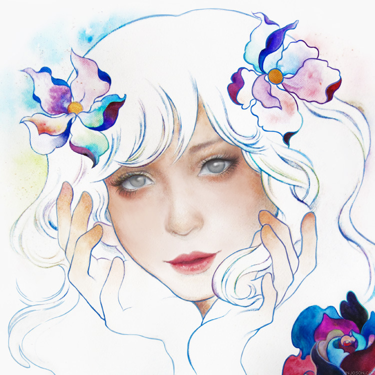 Bloom, by Jin Joson for Clinique using makeup, watercolor and acrylic Bloom on deviantART (print available) see more on my art blog follow my work on Facebook