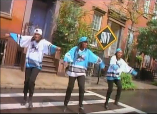 SWV sporting the short-lived hockey-jersey-in-R&B-videos look… San Jose Sharks… Really?