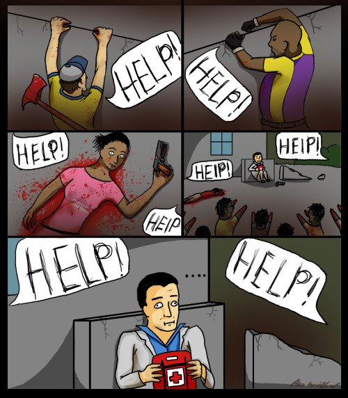 this is a comic my friend made about a traumatic event that happen when we were playing L4D2