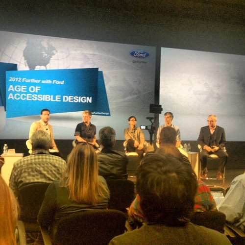 Next up… the #Ford design panel with  @AriSGoldberg @CSiriano #GoFurtherDesign #straightfromtheA  (Taken with Instagram)