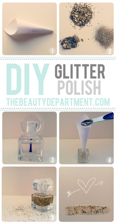 DIY: Glitter nail polish. Have you ever walked into your favorite drug store or cosmetic provider looking for glitter nail polish? Of course! Did you ever just think I wish I could mix this one and this one? Well, now you can with this super simple diy project! Glitter nail polish to match every outfit, yes please! (via The Beauty Department) <3 Chelsey, ModStylist Need styling suggestions, trend tips, or dress details? Ask a ModStylist and your question might be featured on our feed!
