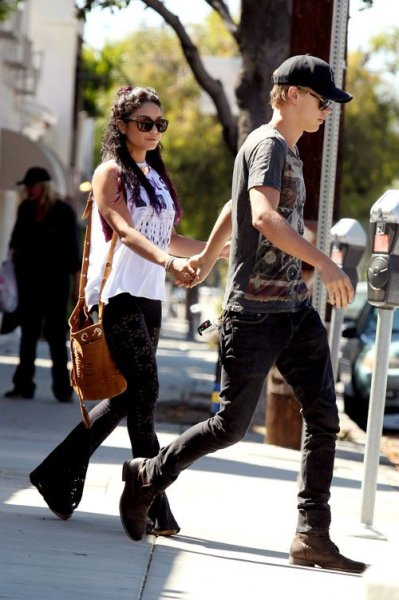 actress Vanessa Hudgens and boyfriend, Austin Butler out in Los Angeles yesterday afternoon