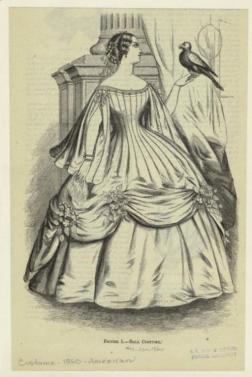 oldrags:  Ballgown, Jan 1860 US, Harper's Magazine