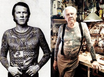 "beahbeah:   ""what are you gonna look like when you're 60 with all those tattoos?""    #fucking badass is what   Lol"