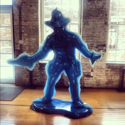 massmoca:  Yoram Wolberger's (life size!) piece for  Kidspace's newest exhibition Curiosity. This guy's currently welcoming people into our lobby.