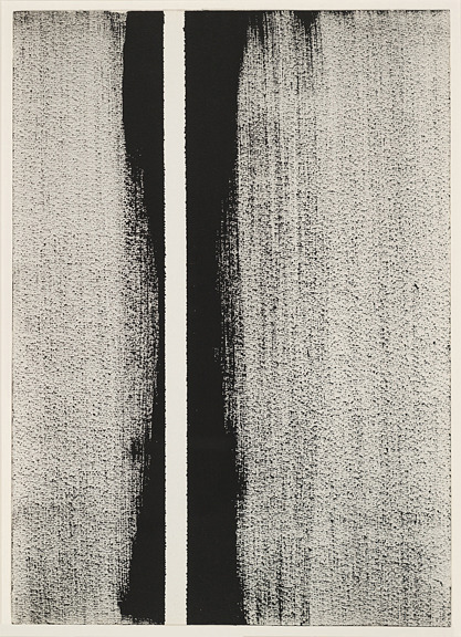 "commeunejardiniere:  // Barnett Newman, Untitled, 1946. Brush and ink on paper. This and related drawings were precursors to Barnett Newman's Zip paintings, monochrome canvases, each of which feature a piece of masking tape placed dead center, running vertically from top to bottom. The Zip paintings were breakthrough works for the artist, who stated: ""The thing I feel in relation to these paintings is that they are more removed, or most removed, from the problem of association with biomorphic or abstract shapes or any other kind of thing."" #abstractexpressionism"