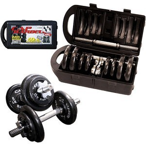 Beginner Tools: Adjustable Dumbbell Sets Adjustable sets are totally bad ass for beginners and intermediate exercisers alike. You can start with the light plates, and add on as you go. The set above is a great choice for most beginner women: 5- 20lbs per dumbbell. It comes with a case, stores easily and is totally affordable at only about $40 a set. When it comes to dumbbells, you don't need to go fancy: this is a simple set with one big perk: adjustable sets allow you to avoid buying several different sets over time.  It's also easier to boost your difficult as you see fit, whenever you're ready.  No home gym is complete without weights! If you don't already have them, GET THEM! Said with love, of course. :) Cap 40lb Dumbbell Set  CHEAP TIP: Craigslist and other sites are awesome for finding old workout equipment for very cheap. Check often, avoid fabrics (bugs) unless new and sealed (think mats), and always disinfect before using it to get sweaty.
