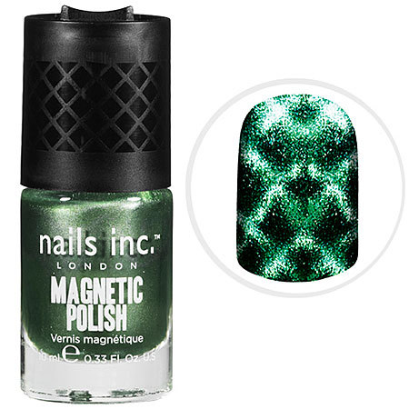 Product Shout Out of the Day nails inc. London Magnetic Nails Buy it here! What it is:A revolutionary magnetic nail lacquer used to create a stunning 3D fishnet effect. What it does:Create gorgeous nail art in minutes with this revolutionary polish that uses a magnet to create an amazing nail art design. This unique formula has been specially developed with metallic particles to create a fishnet nail effect using magnetic forces. As the magnet is held over the nail, the iron powder in the formulation gravitates toward the magnet forming the pattern hidden in the magnet for an astonishing finish. What else you need to know:Textured, special effects nails are still big news and the ultimate fashion accessory. Choose from three fishnet magnetic polishes named after iconic London locations. Suggested Usage:-Apply one coat of Kensington Caviar base coat.-Pull off outer cap of magnetic polish and set to one side.-Using the inner cap, apply one coat of magnetic polish to all 10 nails. Leave to dry for 2-3 minutes.-Apply a second thick coat of magnetic polish to one nail. Immediately hold the magnet (built into the outer cap) over the nail while the polish is still wet.-Hold the lip in the cap just below your cuticle to position the magnet over the nail.-Hold the magnet very close to the nail but do not touch the nail.-Remove magnet after a few seconds to reveal the design.-Repeat above on all nails, one nail at a time.-Finish with one coat of Kensington Caviar Top Coat. Precautions:-Flammable Source: Sephora
