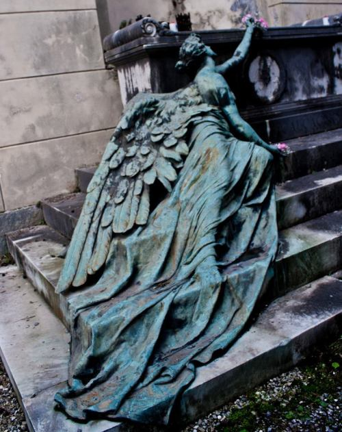 fairydomain:  thewombatslair:  norma-bara:  Winged feminine figureBronze by sculptor Adolfo Apolloni 1904. Calcagno family burial monument at the Staglieno Cemetery, Genoa - Italy.  Good lord nobody fucking blink.  Blink and you're dead.