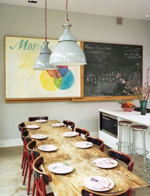 firsthome:  i love the chalkboard and the board that slides over to cover it reminds me of my middle school art class.  sweet nostalgia.