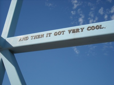 A part of the John Ashbery poem installed on the Irene Hixon Whitney Bridge