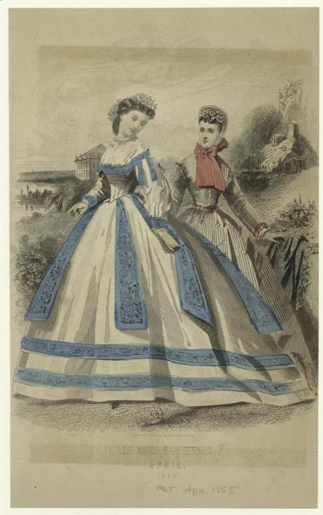 Dresses, Apr 1865 US, Peterson's Magazine