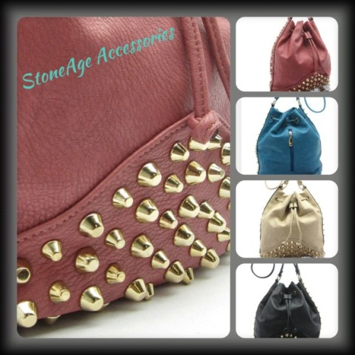 Just Added to the shop!! #stoneage #stoneageaccessories #crossbody #bag #purse #accessories #shop #goldstuds #studs #pink #black #turquoise #beige #gold #fashion #style #trend #trendy #trends #edgy #fauxleather (Taken with Instagram at Facebook.com/stoneageshop)