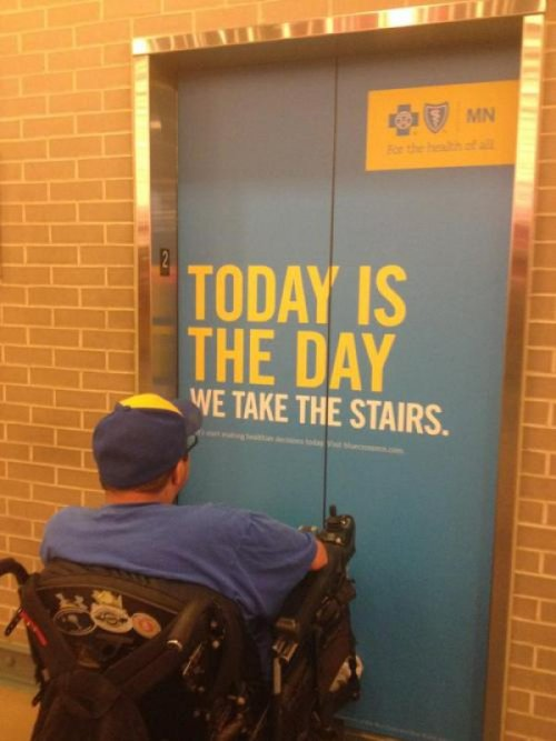 collegehumor:  Today is the Day We Take the Stairs According to this elevator, it's a miracle!