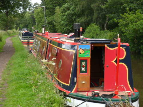 Brightly coloured Narrow Boats on the Staffordshire and Worcester Canal, a lovely spot to moor up and drink tea!