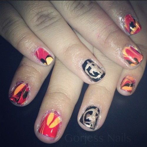 #hungergames #nailart #fire #watermarble (Taken with Instagram)