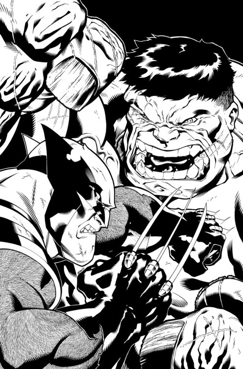 Pen and ink drawing of the Hulk versus Wolverine.