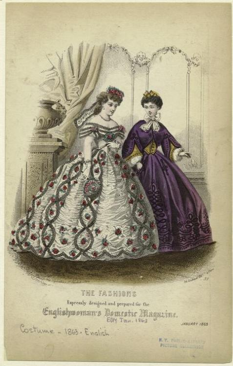 Fashion plate, Jan 1863 England, the Englishwoman's Domestic Magazine